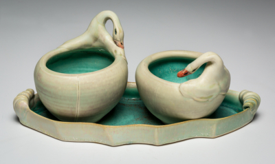 Swan Condiment Bowls on Tray