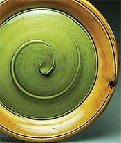 Green and yellow platter by Dandee Pattee
